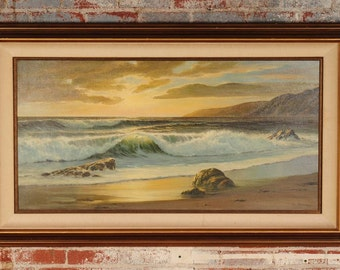 William Blackman - California Sunset Seascape - Large Oil Painting on Canvas