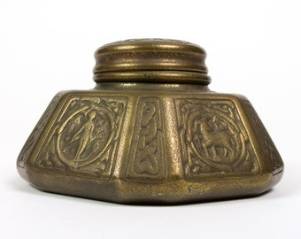 "Tiffany Studio Arts & Crafts Gorgeous 1905 Antique Bronze Inkwell ""Zodiac"""
