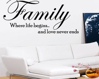Family Wall Art - Vinyl Wall Art Sticker Decal - Living Room, Bedroom, Hall