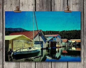 Idaho Boat Houses - Colorful Scenic Lake View - Bayview, ID - Fine Art Photography Print