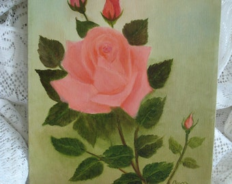 CLEARANCE SALE * Gorgeous Vintage Pink Rose Roses Oil Painting / shabby chic cottage french paris / epsteam ivteam rdt wlv