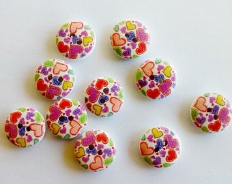10 x 15mm Multicoloured hearts wooden buttons