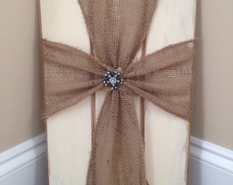 Burlap cross wood plaque