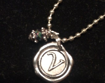 Limited...Initial Necklace with crystal charm ONE of EACH LETTER