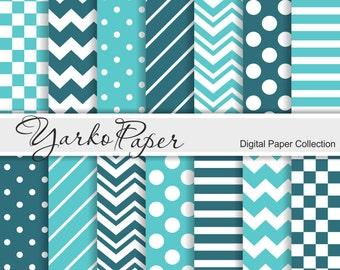 Teal Digital Paper Pack, Chevron, Polka Dot, Stripes, Turquoise Basic Geometric Paper, Digital Background, 14 Sheets - Instant Download