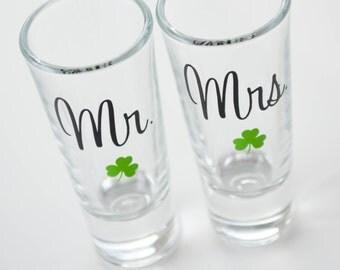 Pair of Mr Mrs Shamrock Shot Glasses