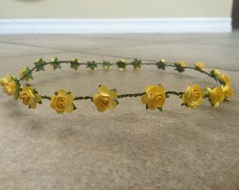 Yellow Mini Flower Crown