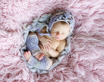 Crochet Fleurette Baby Girl Bonnet  and Leg Warmer Set/ Baby Bonnet/ Leg Warmers /Made To Order---