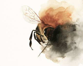 Bee Watercolor Print