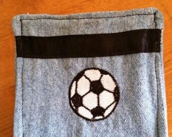 Denim Soccer Ball Embroidered Zipper Coin Purse/Pouch