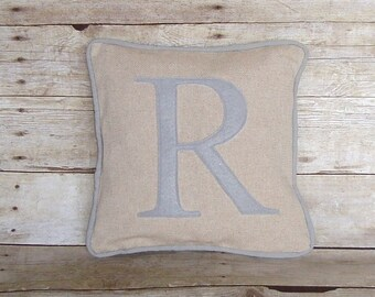 Personalized Pillow Cover, monogram linen pillow, letter pillow, grey letter pillow, monogrammed pillow, initial pillow , Housewarming Gift