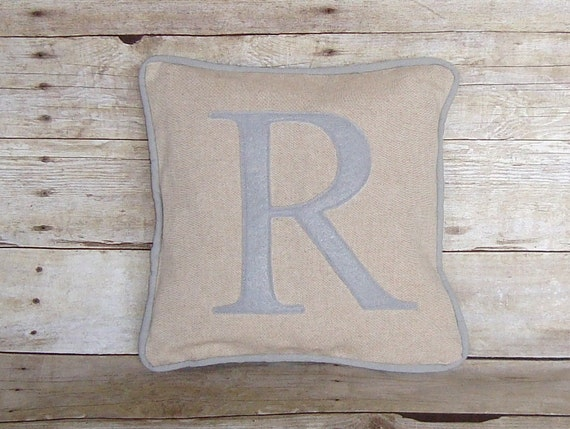 Personalized Pillow Cover, monogram pillow, linen pillow, letter pillow, grey letter pillow, monogrammed pillow, initial pillow