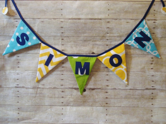 Boys Name Banner - blue , yellow, green fabrics - photo prop - Name bunting - triangle flags - Baby Shower Sign - Birthday Party Decoration
