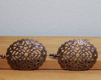 Antique Copper Oval Filigree Earrings, Women's earrings, Women's jewelry
