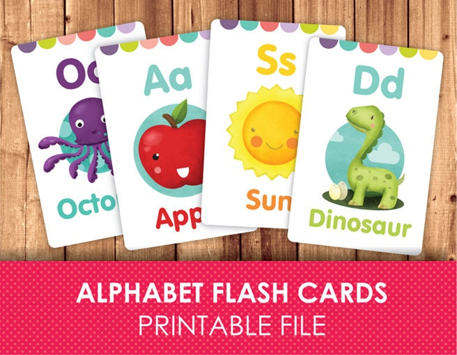 Sweet image for alphabet printable flash cards