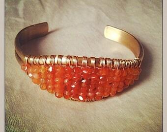 Gemstone Jewelry - Carnelian Brass Bracelet