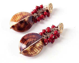 Handmade Earrings with Yellow-Brown Sea Shells and Red Coral, 6 cm