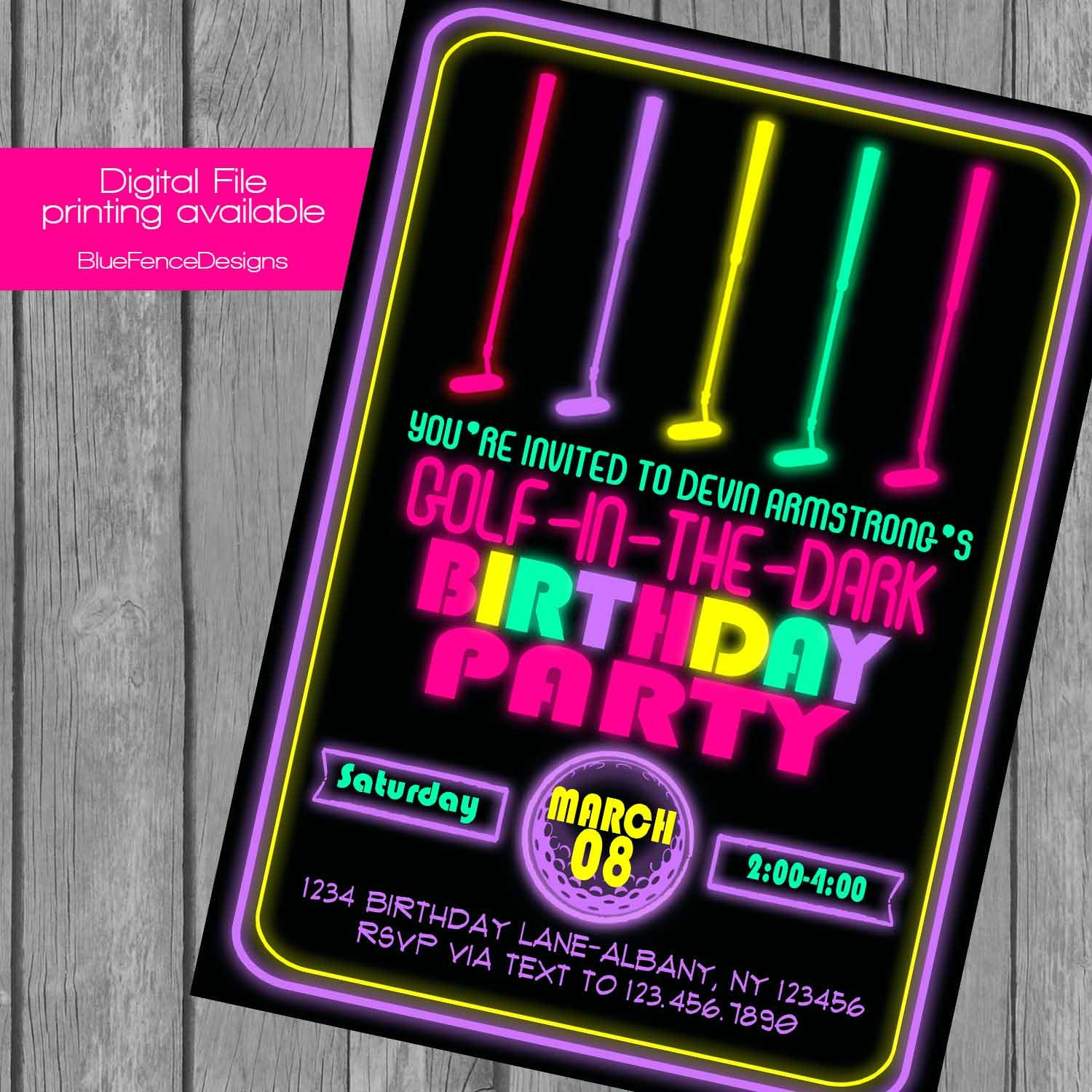 Girl Glow in the Dark Mini Golf Birthday Party Invitation can