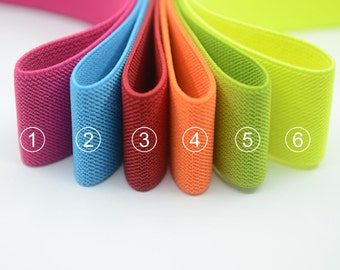 """1.5"""" 38mm Wide Colored Double-side Twill Elastic Band, Wide Waistband Elastic, Elastic Trim, Elastic Ribbon, Sewing Elastic-1 Yard"""