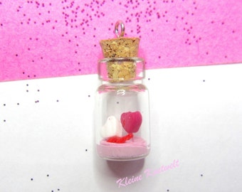 Heart charm Valentines day Mini Glass Bottle Pendant polymer clay jewelry