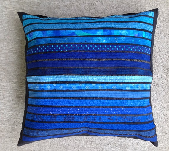 Big Soft Throw Pillows : BIG quilted pillow. Blue fabric pillow. Accent by AnnBrauer