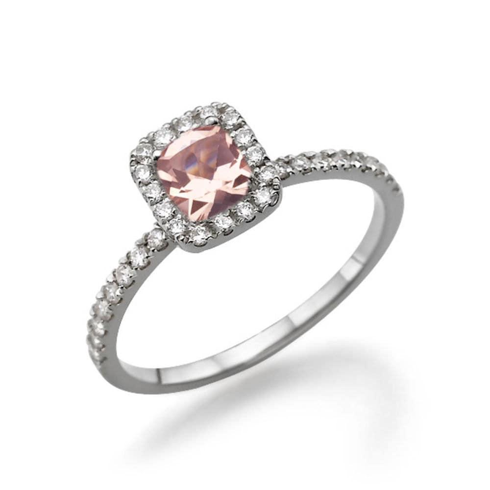 cushion cut morganite engagement ring 14k white gold ring