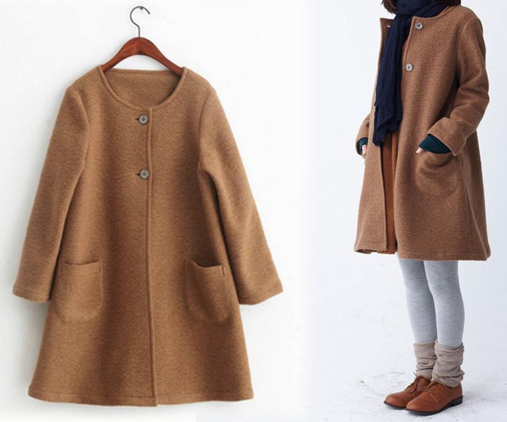 249women S Winter Boiled Wool A Line Coat Camel