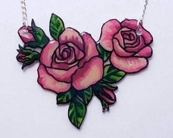 Pink Floral Shrinky Dink Necklace