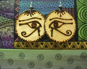 156- Eye of Horus- Natural Wood Earrings