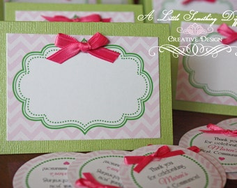 Tent Cards in Green and Pink with Hand-tied Hot Pink Bow / Spring Tent Cards / Dessert Buffet Tent Cards / Candy Bar Description Cards