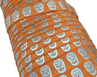 "Orange with Silver Metallic Sugar Skulls 5/8"" Fold Over Elastic 1, 3 or 5 yards"