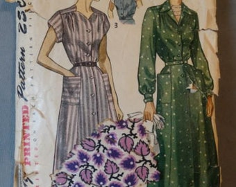 1940s Simplicity Pattern #2886 Inset Belt One Piece Dress Gathered Yoke 39 Bust