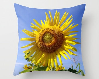 Sunflower, Pillow Cover, 16x16,18x18,20x20, home decoration,flowers,yellow,green,blue,floral,country living,interior design,Macro, Accent