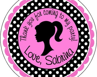 Barbie Silhouette Black Polka Dot and Hot Pink Personalized Birthday Labels Stickers for use as Gift Tags, Party Favors, or Address Labels