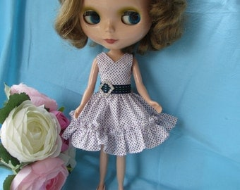 Blythe Doll Outfit Crystal Ring Purple Dress