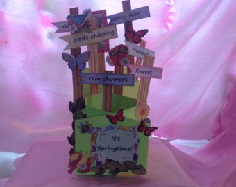 Handmade accordian card springtime