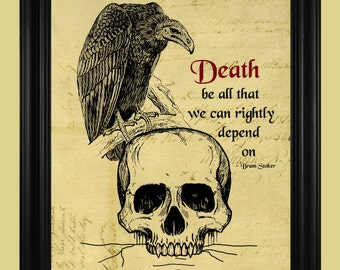 Bram Stoker Death Quote, Vulture and Skull Illustration, Macabre Art Print, Grim Skeleton Poster