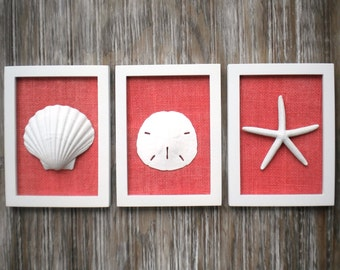 Cottage Chic Set of Beach Wall Art, Nautical Decor, Beach House Wall Decor, Beach Decor, Coastal Wall Art, WHITE with CORAL Burlap