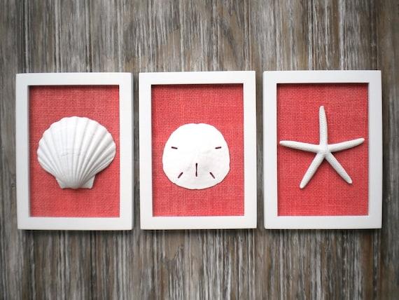 Etsy Coastal Wall Decor : Cottage chic set of beach wall art nautical decor