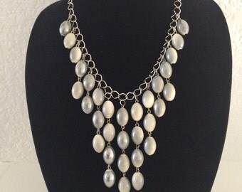 Gray and beige bib necklace