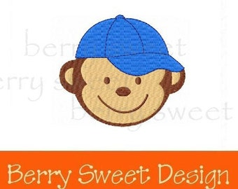 baseball monkey machine embroidery design instant download