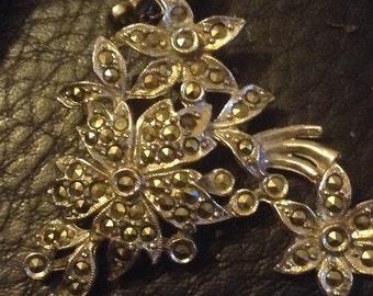Vintage White Metal Marcasite Set Floral Swag Necklace - Vintage Bridal Necklace
