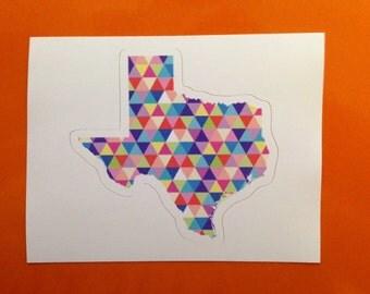 Vinyl Sticker - Texas Colorful Hipster Geometric Triangles Austin Dallas Houston San Antonio ATX  Laptop Sticker Water Bottle Bumper sticker