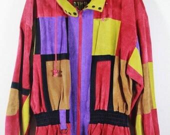 Vintage 90's Color Block Suede Jacket