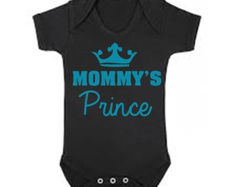 Mommy's Prince baby boy bodysuit  / blue with black design or black with blue design - all sizes outfit