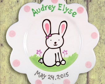 Gift for Newborn - Baby Personalized Girl Gift - Infant Girl - Easter Bunny - Hand Painted Ceramic Plate - 1st Easter Baby Plate - Pastel