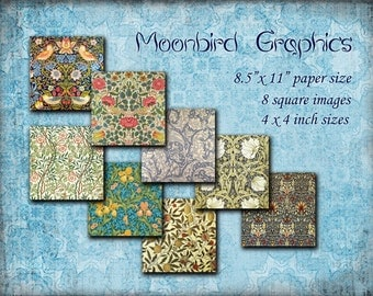 William Morris's Images – 8 Square Art Images Digital Collage Sheet – 4 x 4 inches - Printable Download for making coasters and cards