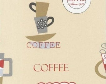 Retro Coffee Wallpaper   Cream, Silver, Red, Gold, Gray, Bistro,
