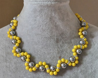 pearl necklace, glass pearl necklace,wedding necklace,pearl jewelry,bridesmaid necklace,flower necklace,gray yellow necklace,wedding jewelry