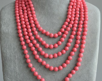 100 inch pearl Necklace,select your color,26 color can be choice,long pearl necklace,hand knotted pearl necklace,pink coral necklace